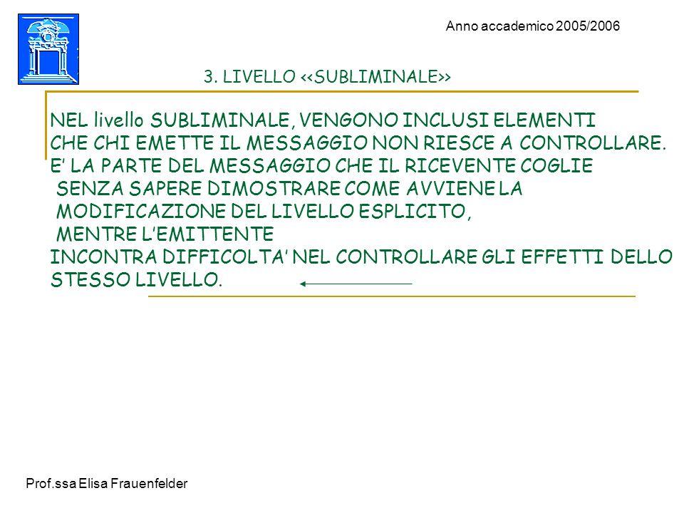 Prof.ssa Elisa Frauenfelder Anno accademico 2005/2006 3. LIVELLO > NEL livello SUBLIMINALE, VENGONO INCLUSI ELEMENTI CHE CHI EMETTE IL MESSAGGIO NON R