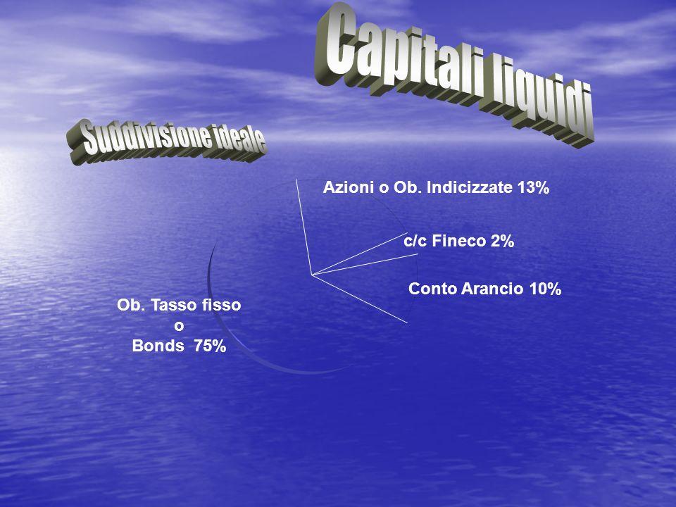 c/c Fineco 2% Conto Arancio 10% Azioni o Ob. Indicizzate 13% Ob. Tasso fisso o Bonds 75%