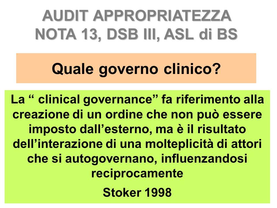 Quale governo clinico? La clinical governance fa riferimento alla creazione di un ordine che non può essere imposto dallesterno, ma è il risultato del