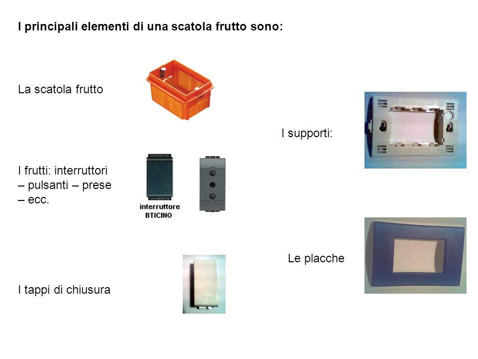 I principali elementi di una scatola frutto sono: La scatola frutto I frutti: interruttori – pulsanti – prese – ecc. I tappi di chiusura I supporti: L
