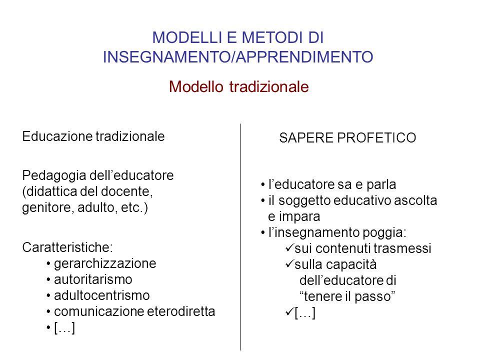 MODELLI E METODI DI INSEGNAMENTO/APPRENDIMENTO Modello tradizionale Pedagogia delleducatore (didattica del docente, genitore, adulto, etc.) Caratteris