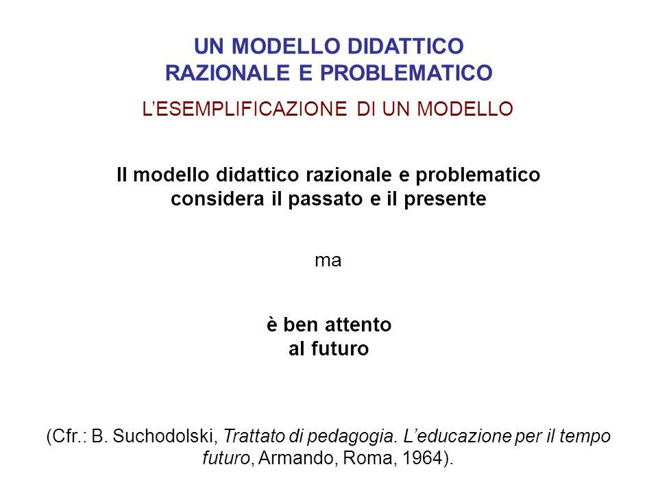 Il modello didattico razionale e problematico considera il passato e il presente ma è ben attento al futuro (Cfr.: B. Suchodolski, Trattato di pedagog