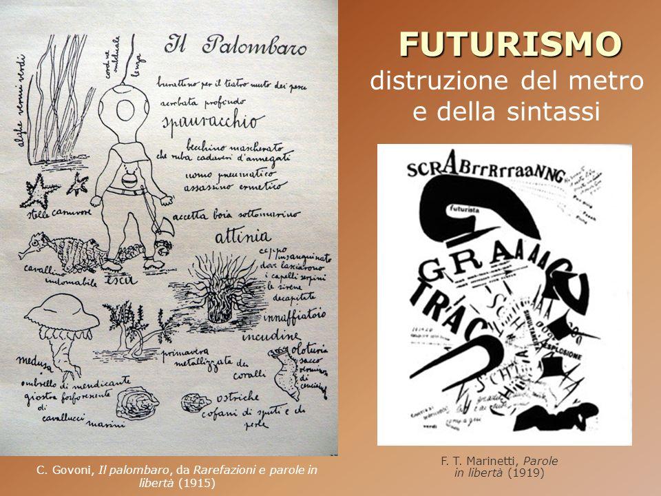 FUTURISMO distruzione del metro e della sintassi C. Govoni, Il palombaro, da Rarefazioni e parole in libertà (1915) F. T. Marinetti, Parole in libertà