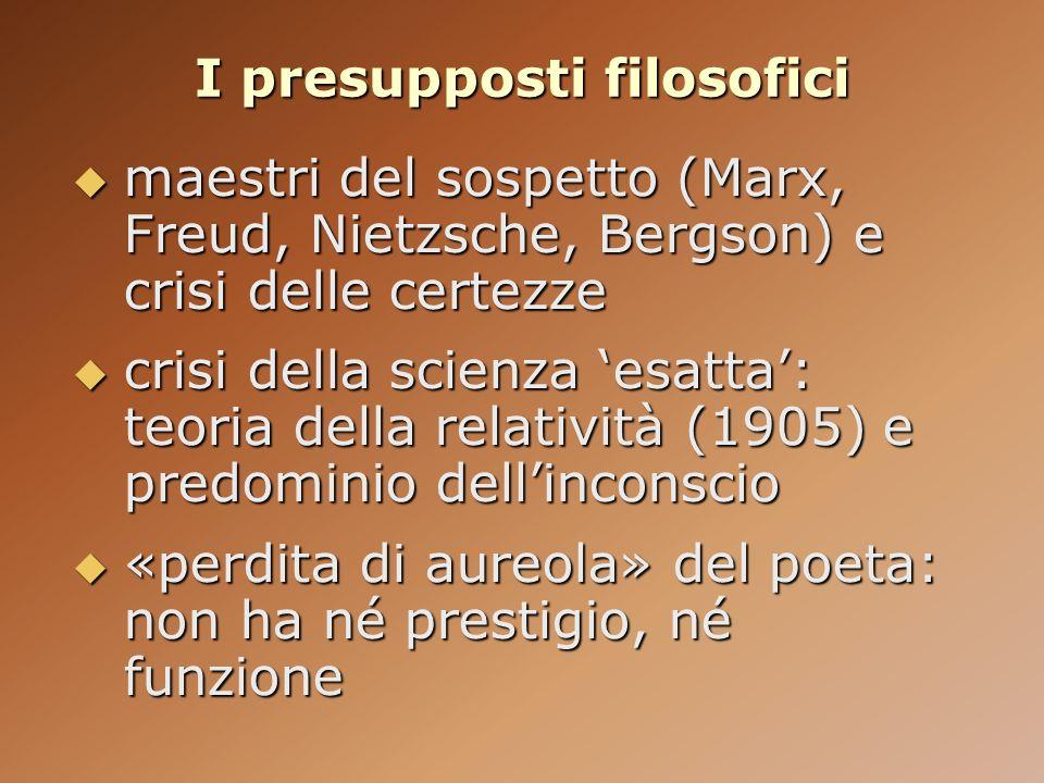 I presupposti filosofici maestri del sospetto (Marx, Freud, Nietzsche, Bergson) e crisi delle certezze maestri del sospetto (Marx, Freud, Nietzsche, B