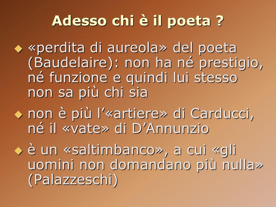Adesso chi è il poeta ? «perdita di aureola» del poeta (Baudelaire): non ha né prestigio, né funzione e quindi lui stesso non sa più chi sia «perdita