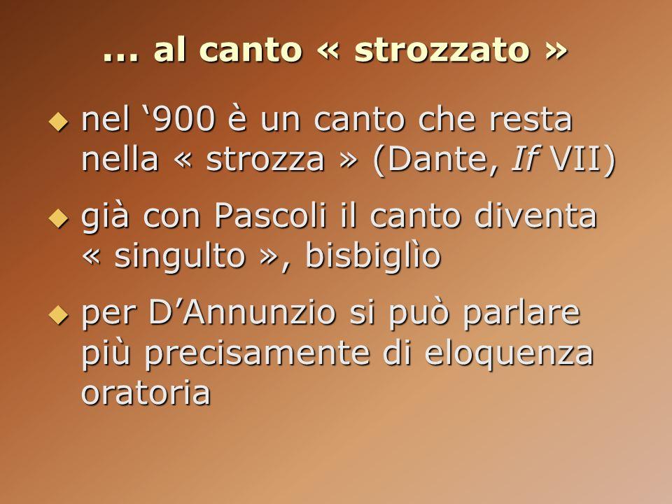 … al canto « strozzato » nel 900 è un canto che resta nella « strozza » (Dante, If VII) nel 900 è un canto che resta nella « strozza » (Dante, If VII)