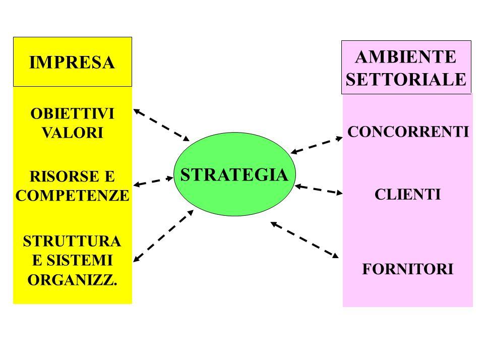 STRATEGIA IMPRESA OBIETTIVI VALORI RISORSE E COMPETENZE STRUTTURA E SISTEMI ORGANIZZ. AMBIENTE SETTORIALE CONCORRENTI CLIENTI FORNITORI