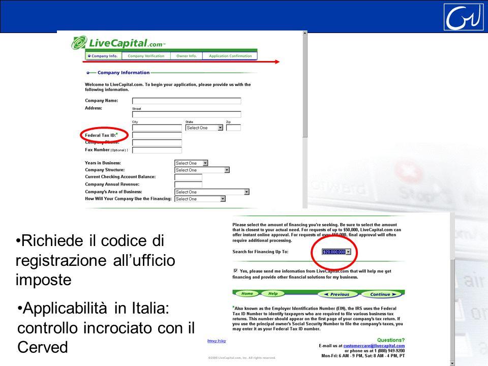 Richiede il codice di registrazione allufficio imposte Applicabilità in Italia: controllo incrociato con il Cerved