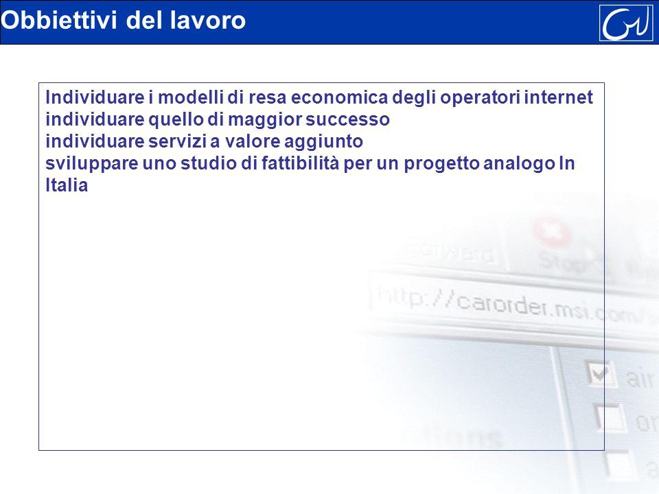 Obbiettivi del lavoro Individuare i modelli di resa economica degli operatori internet individuare quello di maggior successo individuare servizi a valore aggiunto sviluppare uno studio di fattibilità per un progetto analogo In Italia