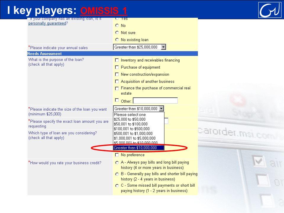 I key players: OMISSIS 1 OMISSIS 1