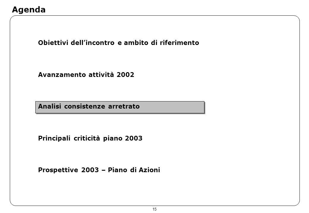 15 Agenda Obiettivi dellincontro e ambito di riferimento Avanzamento attività 2002 Analisi consistenze arretrato Principali criticità piano 2003 Prosp