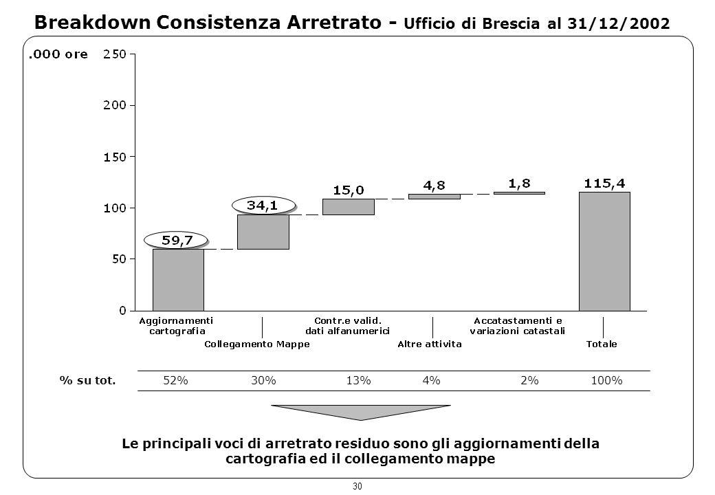 30 Breakdown Consistenza Arretrato - Ufficio di Brescia al 31/12/2002 Le principali voci di arretrato residuo sono gli aggiornamenti della cartografia