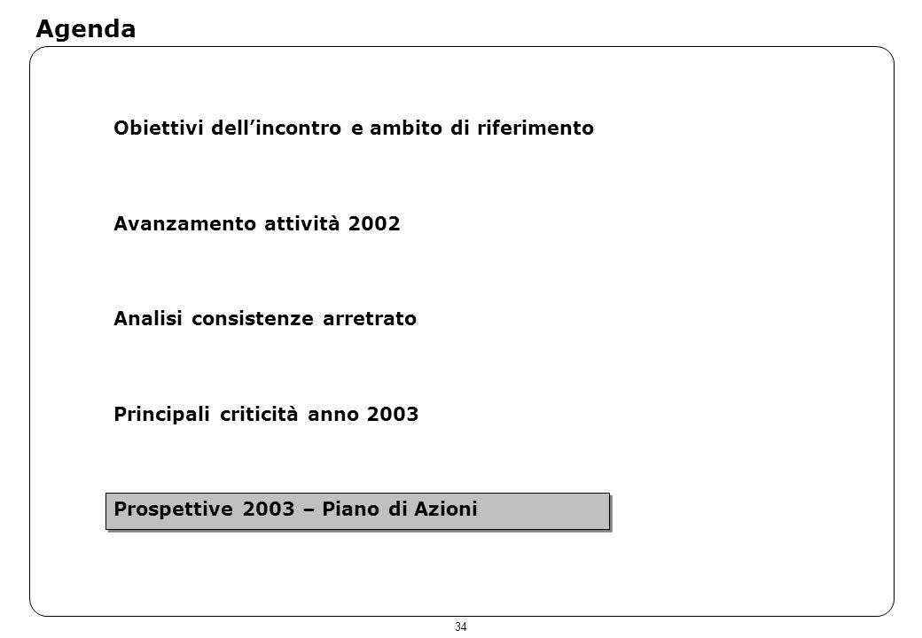 34 Agenda Obiettivi dellincontro e ambito di riferimento Avanzamento attività 2002 Analisi consistenze arretrato Principali criticità anno 2003 Prospe