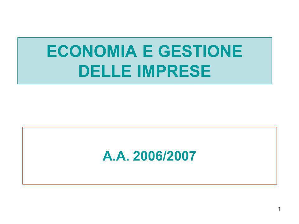1 ECONOMIA E GESTIONE DELLE IMPRESE A.A. 2006/2007