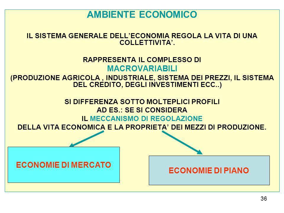 36 AMBIENTE ECONOMICO IL SISTEMA GENERALE DELLECONOMIA REGOLA LA VITA DI UNA COLLETTIVITA.