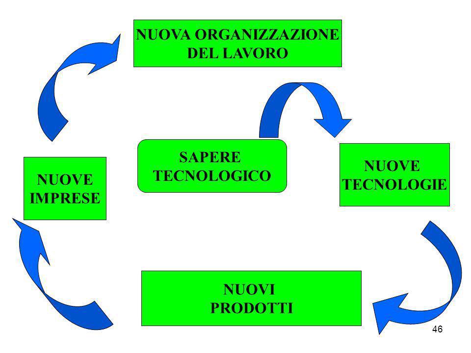 46 SAPERE TECNOLOGICO NUOVA ORGANIZZAZIONE DEL LAVORO NUOVE TECNOLOGIE NUOVI PRODOTTI NUOVE IMPRESE