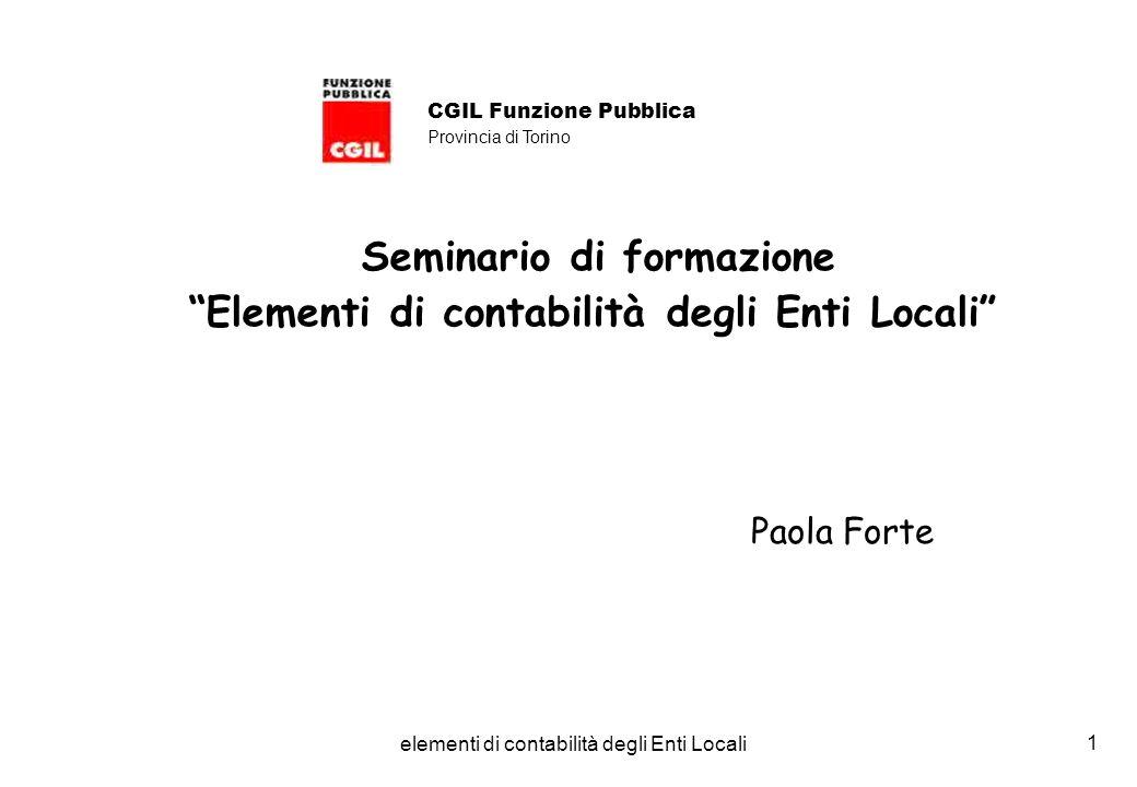 elementi di contabilità degli Enti Locali 1 Seminario di formazione Elementi di contabilità degli Enti Locali Paola Forte CGIL Funzione Pubblica Provincia di Torino