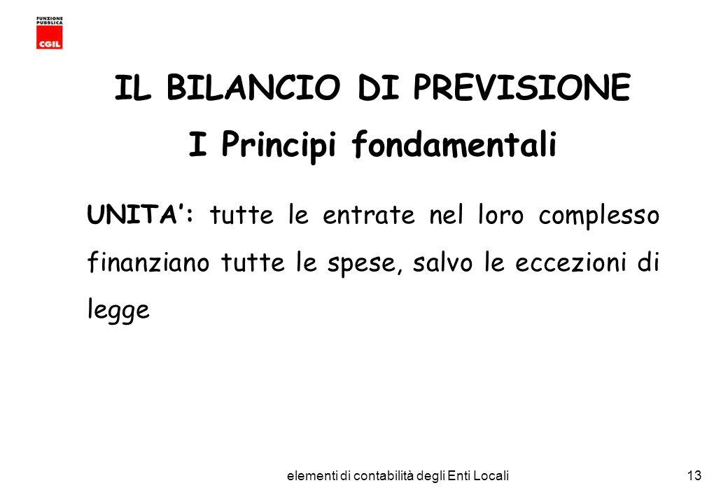CGIL Funzione Pubblica Provincia di Torino elementi di contabilità degli Enti Locali13 IL BILANCIO DI PREVISIONE I Principi fondamentali UNITA: tutte le entrate nel loro complesso finanziano tutte le spese, salvo le eccezioni di legge