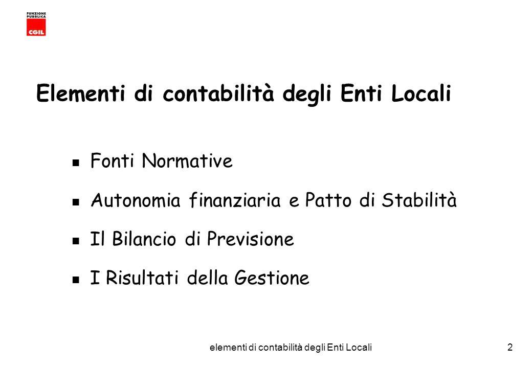 CGIL Funzione Pubblica Provincia di Torino elementi di contabilità degli Enti Locali53 IL RENDICONTO DELLA GESTIONE e composto da: CONTO DEL BILANCIO CONTO ECONOMICO CONTO DEL PATRIMONIO RELAZIONE AL RENDICONTO