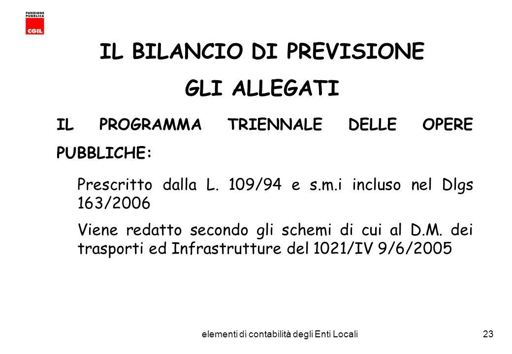 CGIL Funzione Pubblica Provincia di Torino elementi di contabilità degli Enti Locali23 IL BILANCIO DI PREVISIONE GLI ALLEGATI IL PROGRAMMA TRIENNALE DELLE OPERE PUBBLICHE: Prescritto dalla L.