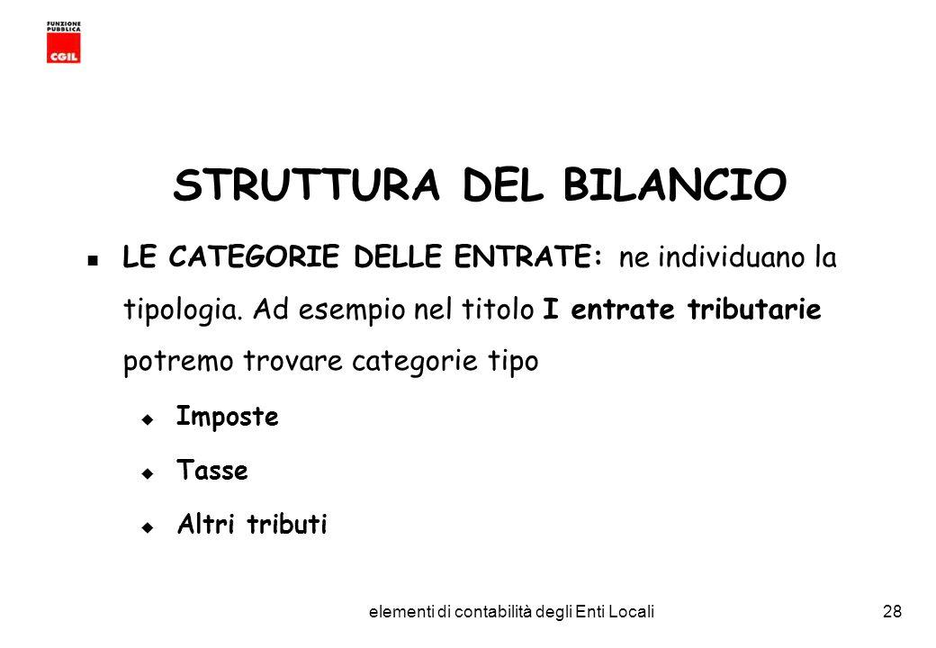CGIL Funzione Pubblica Provincia di Torino elementi di contabilità degli Enti Locali28 STRUTTURA DEL BILANCIO LE CATEGORIE DELLE ENTRATE: ne individuano la tipologia.