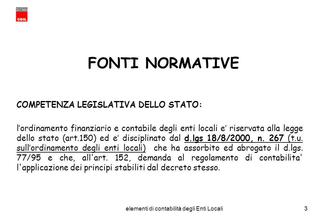 CGIL Funzione Pubblica Provincia di Torino elementi di contabilità degli Enti Locali14 IL BILANCIO DI PREVISIONE I Principi fondamentali ANNUALITA : lunita temporale e lesercizio finanziario che inizia il 1 gennaio e termina il 31 dicembre