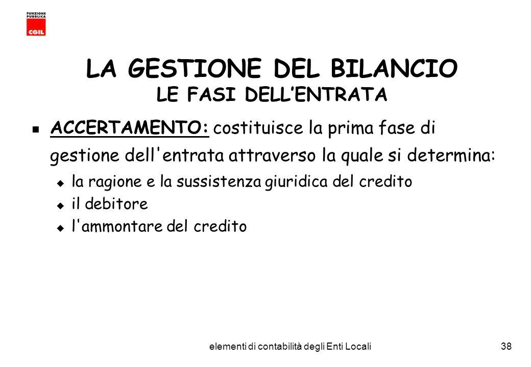 CGIL Funzione Pubblica Provincia di Torino elementi di contabilità degli Enti Locali38 LA GESTIONE DEL BILANCIO LE FASI DELLENTRATA ACCERTAMENTO: costituisce la prima fase di gestione dell entrata attraverso la quale si determina: la ragione e la sussistenza giuridica del credito il debitore l ammontare del credito