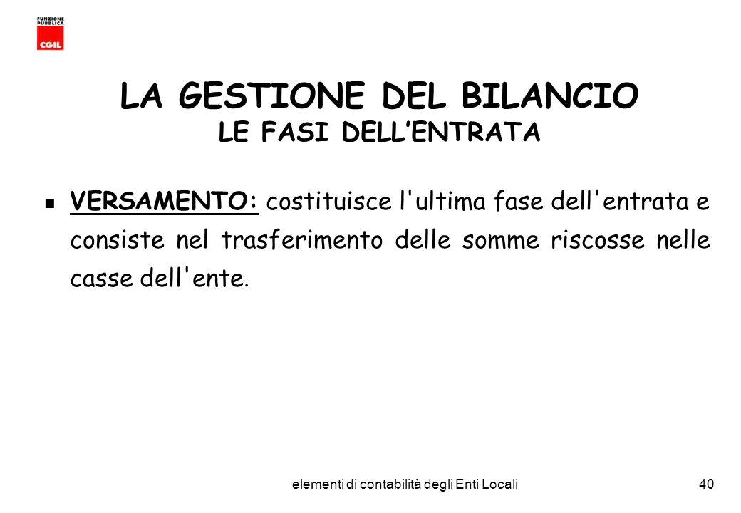 CGIL Funzione Pubblica Provincia di Torino elementi di contabilità degli Enti Locali40 LA GESTIONE DEL BILANCIO LE FASI DELLENTRATA VERSAMENTO: costituisce l ultima fase dell entrata e consiste nel trasferimento delle somme riscosse nelle casse dell ente.