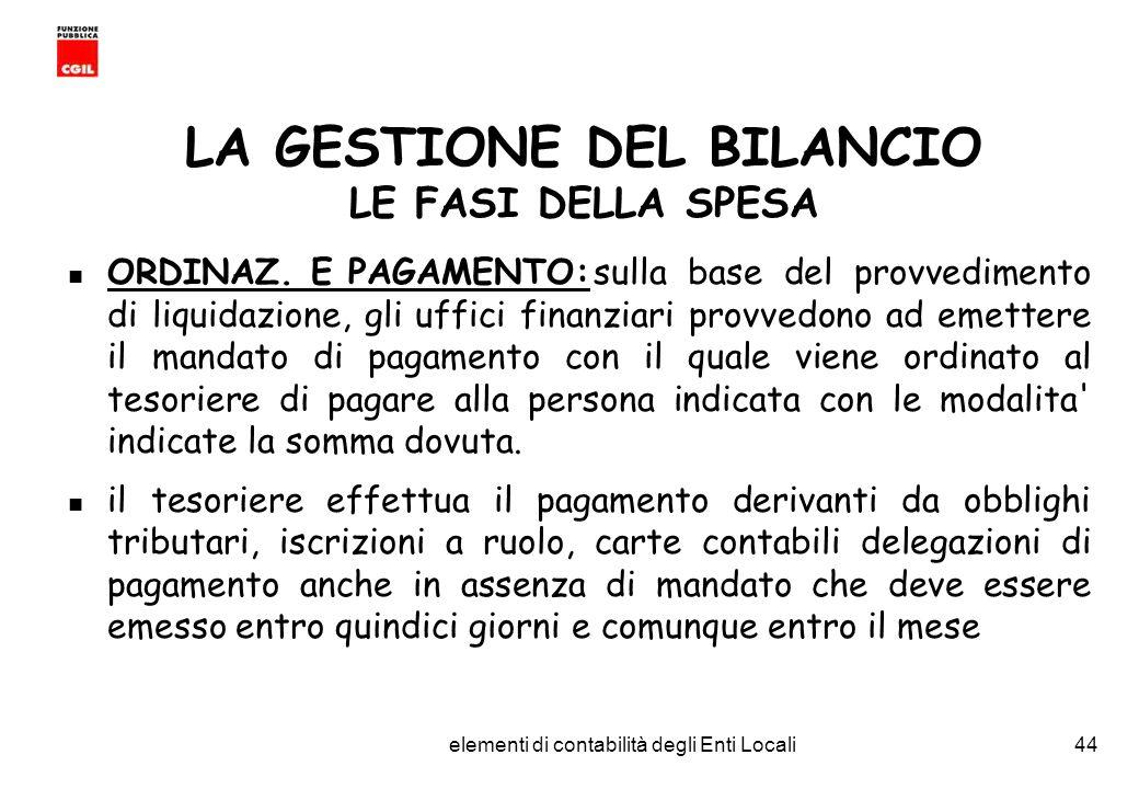 CGIL Funzione Pubblica Provincia di Torino elementi di contabilità degli Enti Locali44 LA GESTIONE DEL BILANCIO LE FASI DELLA SPESA ORDINAZ.