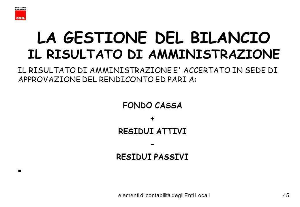 CGIL Funzione Pubblica Provincia di Torino elementi di contabilità degli Enti Locali45 LA GESTIONE DEL BILANCIO IL RISULTATO DI AMMINISTRAZIONE IL RISULTATO DI AMMINISTRAZIONE E ACCERTATO IN SEDE DI APPROVAZIONE DEL RENDICONTO ED PARI A: FONDO CASSA + RESIDUI ATTIVI - RESIDUI PASSIVI