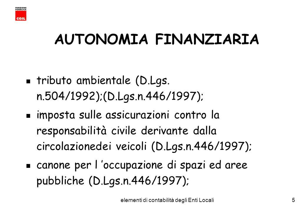 CGIL Funzione Pubblica Provincia di Torino elementi di contabilità degli Enti Locali5 AUTONOMIA FINANZIARIA tributo ambientale (D.Lgs.