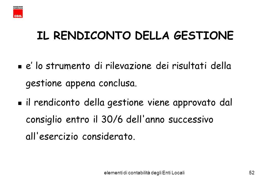 CGIL Funzione Pubblica Provincia di Torino elementi di contabilità degli Enti Locali52 IL RENDICONTO DELLA GESTIONE e lo strumento di rilevazione dei risultati della gestione appena conclusa.