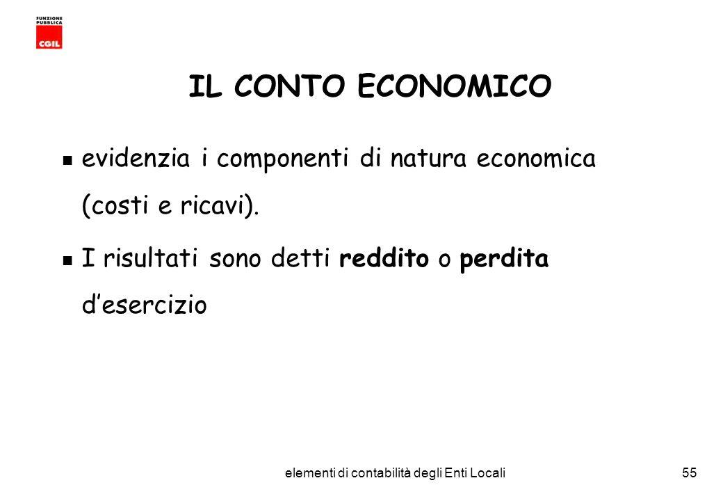 CGIL Funzione Pubblica Provincia di Torino elementi di contabilità degli Enti Locali55 IL CONTO ECONOMICO evidenzia i componenti di natura economica (costi e ricavi).