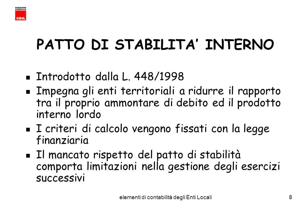 CGIL Funzione Pubblica Provincia di Torino elementi di contabilità degli Enti Locali8 PATTO DI STABILITA INTERNO Introdotto dalla L.