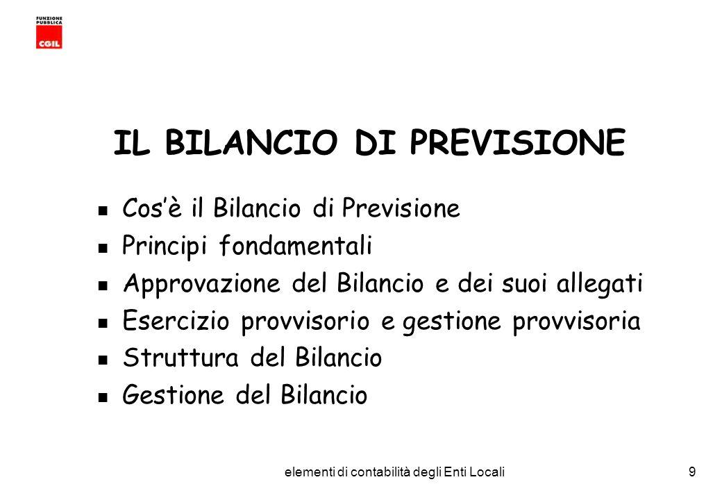 CGIL Funzione Pubblica Provincia di Torino elementi di contabilità degli Enti Locali10 IL BILANCIO DI PREVISIONE e lo strumento finanziario e contabile per la gestione delle entrate e delle spese dell ente; ha carattere autorizzatorio in quanto costituisce limite agli impegni di spesa