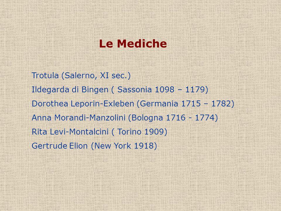 Le Mediche Trotula (Salerno, XI sec.) Ildegarda di Bingen ( Sassonia 1098 – 1179) Dorothea Leporin-Exleben (Germania 1715 – 1782) Anna Morandi-Manzoli