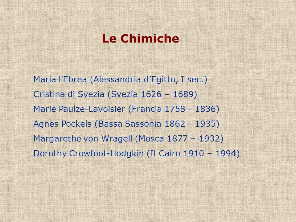 Le Chimiche Maria lEbrea (Alessandria dEgitto, I sec.) Cristina di Svezia (Svezia 1626 – 1689) Marie Paulze-Lavoisier (Francia 1758 - 1836) Agnes Pock