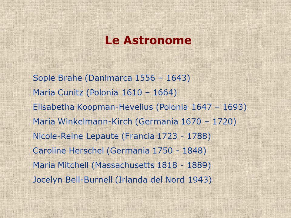 Le Astronome Sopie Brahe (Danimarca 1556 – 1643) Maria Cunitz (Polonia 1610 – 1664) Elisabetha Koopman-Hevelius (Polonia 1647 – 1693) Maria Winkelmann