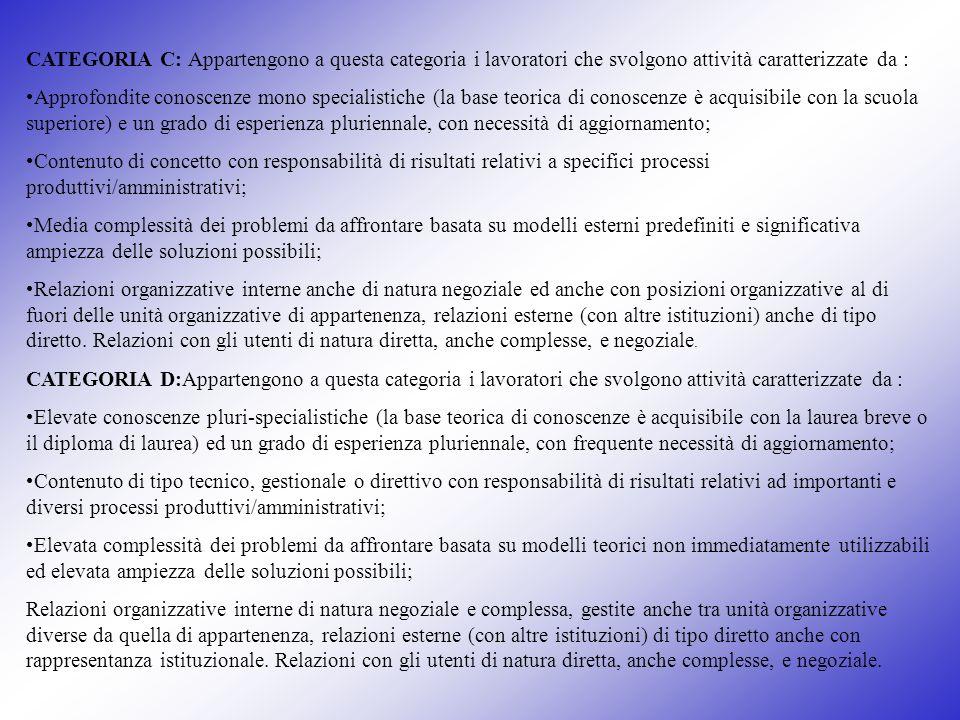 CATEGORIA C: Appartengono a questa categoria i lavoratori che svolgono attività caratterizzate da : Approfondite conoscenze mono specialistiche (la ba