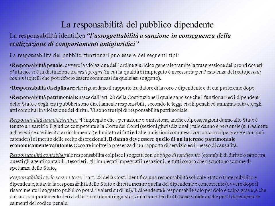 La responsabilità del pubblico dipendente La responsabilità identifica lassoggettabilità a sanzione in conseguenza della realizzazione di comportament
