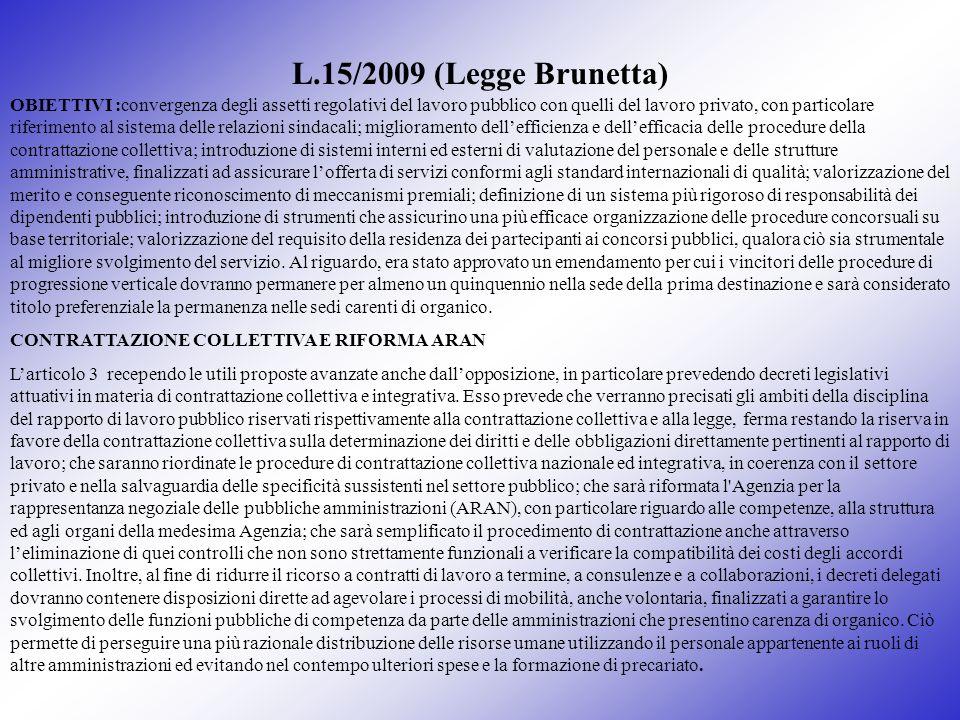 L.15/2009 (Legge Brunetta) OBIETTIVI :convergenza degli assetti regolativi del lavoro pubblico con quelli del lavoro privato, con particolare riferime