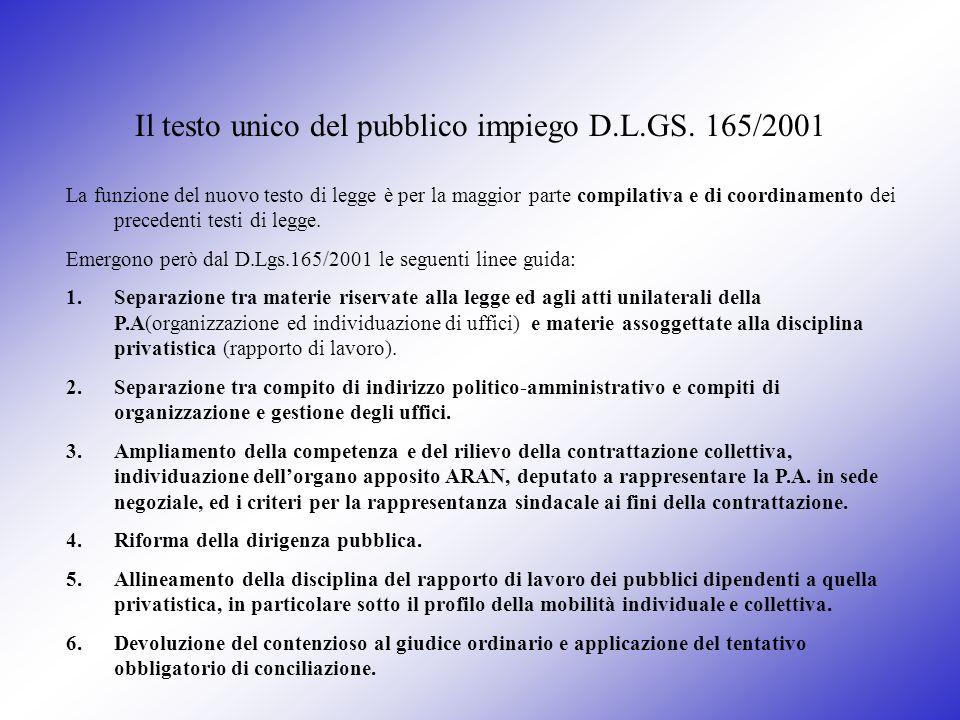 Il testo unico del pubblico impiego D.L.GS. 165/2001 La funzione del nuovo testo di legge è per la maggior parte compilativa e di coordinamento dei pr
