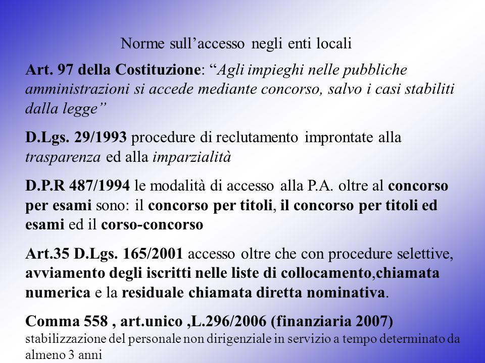 Norme sullaccesso negli enti locali Art. 97 della Costituzione: Agli impieghi nelle pubbliche amministrazioni si accede mediante concorso, salvo i cas