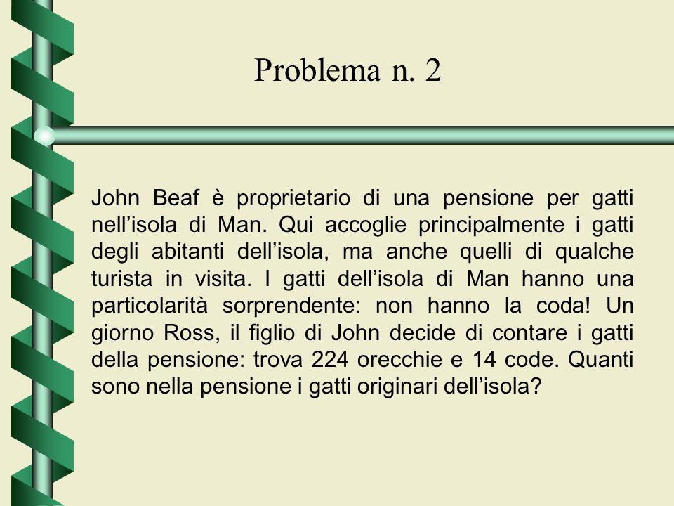 Problema n. 2 John Beaf è proprietario di una pensione per gatti nellisola di Man. Qui accoglie principalmente i gatti degli abitanti dellisola, ma an