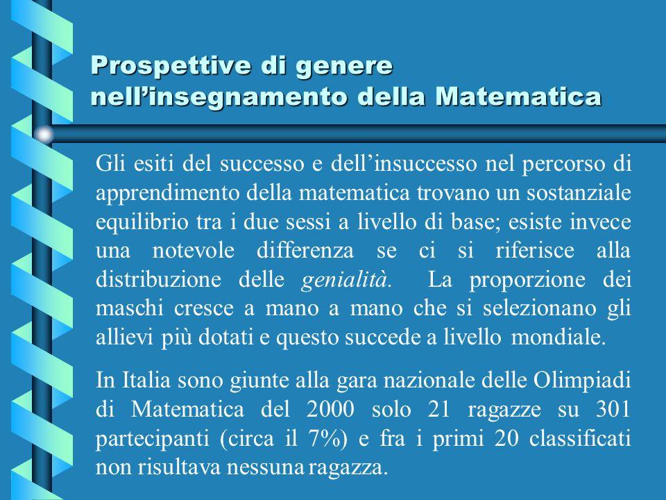 Prospettive di genere nellinsegnamento della Matematica Gli esiti del successo e dellinsuccesso nel percorso di apprendimento della matematica trovano