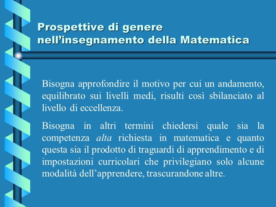 Prospettive di genere nellinsegnamento della Matematica Bisogna approfondire il motivo per cui un andamento, equilibrato sui livelli medi, risulti così sbilanciato al livello di eccellenza.