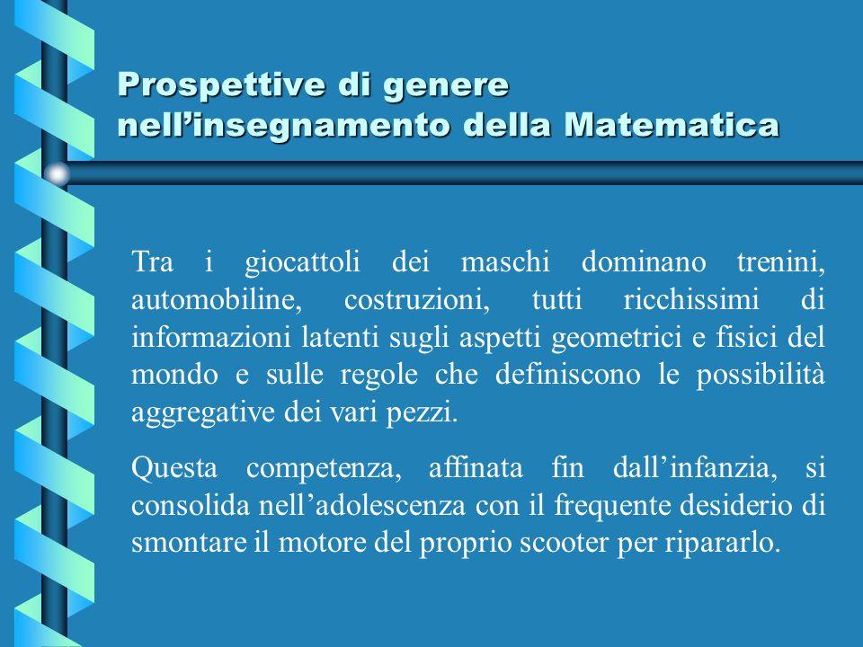 Prospettive di genere nellinsegnamento della Matematica Tra i giocattoli dei maschi dominano trenini, automobiline, costruzioni, tutti ricchissimi di