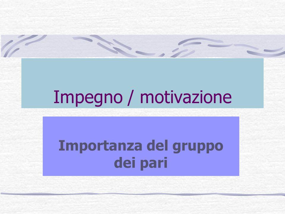 Impegno / motivazione Importanza del gruppo dei pari
