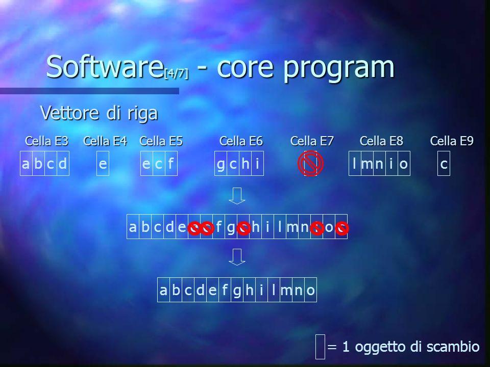 Software [4/7] - core program Vettore di riga Vettore di riga abcdefghilmno = 1 oggetto di scambio abcdeecfgchilmniocabcd e ecfgchilmnio c Cella E3 Cella E3 Cella E4 Cella E4 Cella E5 Cella E5 Cella E6 Cella E6 Cella E8 Cella E8 Cella E9 Cella E9 Cella E7 Cella E7