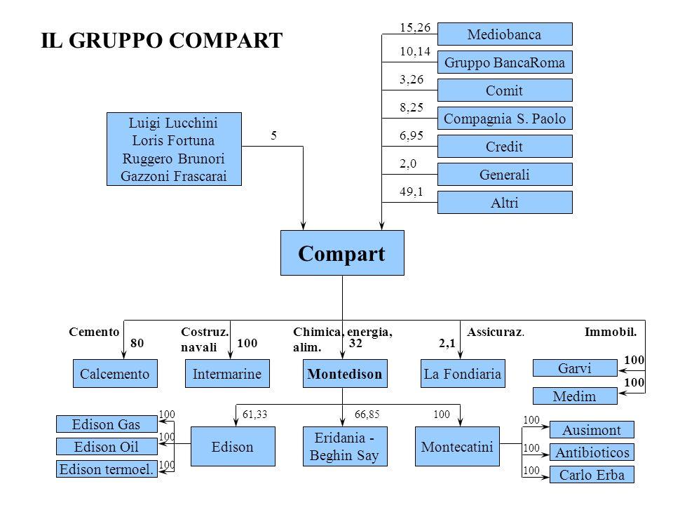 Compart Mediobanca Comit Compagnia S. Paolo Gruppo BancaRoma Credit Generali Altri Calcemento Cemento 80 Montedison 32 Intermarine Costruz. navali 100